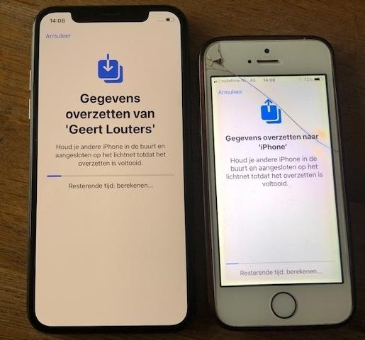 Refurbished iphone X gegevens overzetten