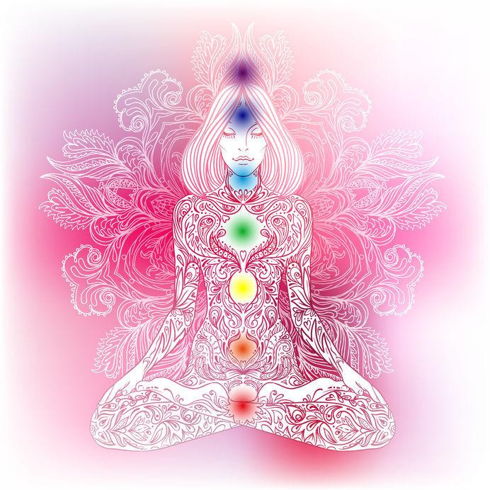 Beeld van de 7 chakra's en hun kleuren