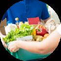 Foto met voedselpakket