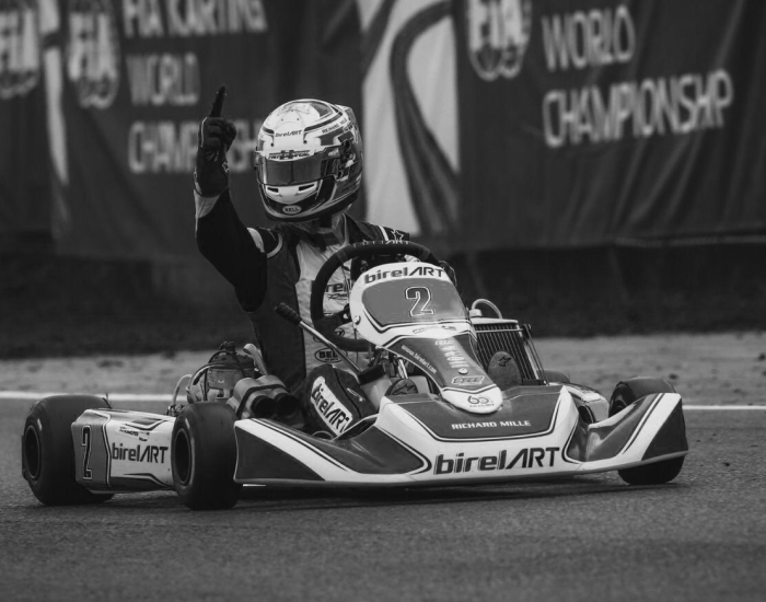 BirelART kart rider on race track in vrooam lubricated kart