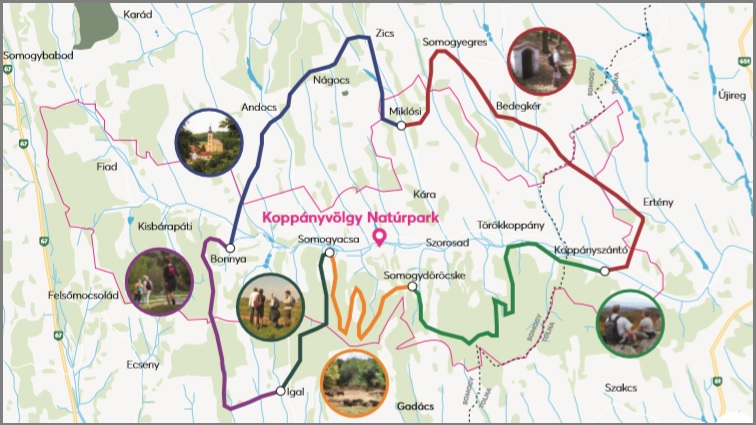 Wandelkaart Artventures vakanties in Hongarije voor wandeltrektochten