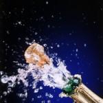 Champagnefles knallende kurk