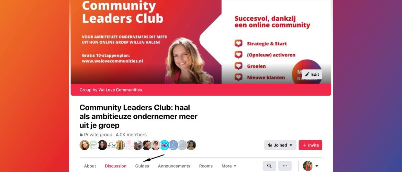 Hoe krijg je het kopje 'Gidsen' in je Facebookgroep?