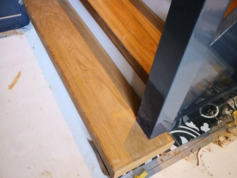 Traprenovatie zonder antislipstrip rondom trapboom