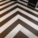 Hongaarse punt vloer eiken zwart en wit