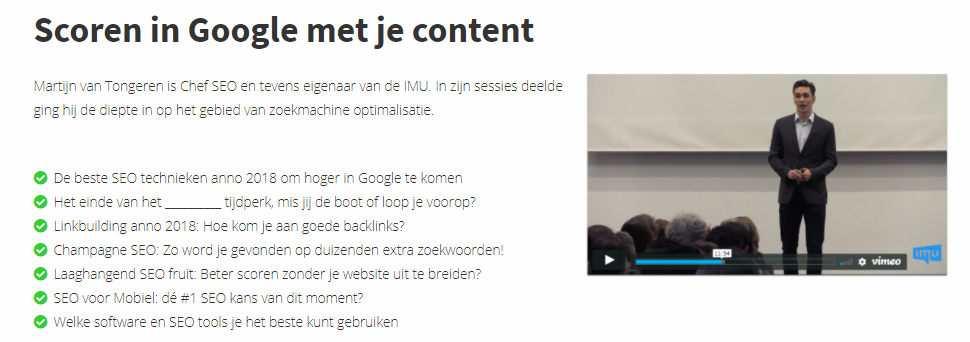 Content marketing cursus IMU