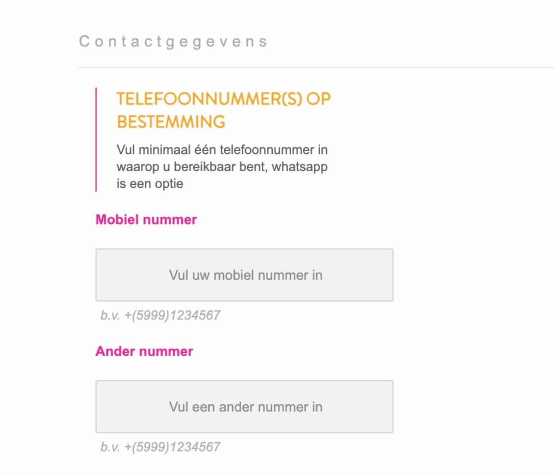 Contactgegevens DI Card invullen