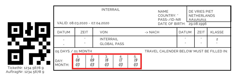 Alle reisdagen invullen op het ticket van de Interrail Pass