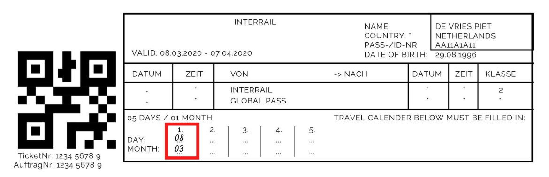 Reisdagen invullen op mijn Interrail Pass
