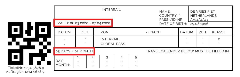 De reisduur en geldigheidsperiode van de Interrail ticket