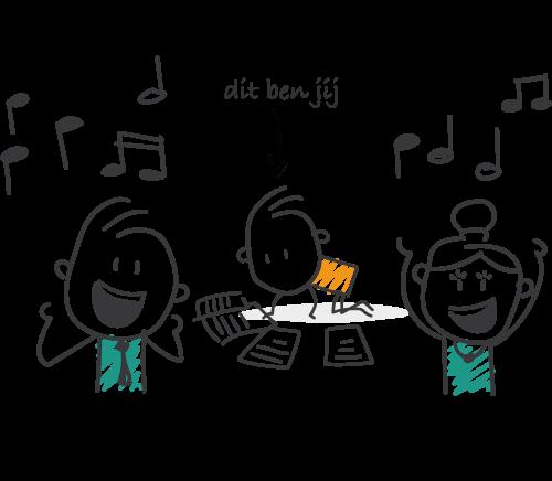 Twee zingende leden en jij op de grond met alle bladmuziek