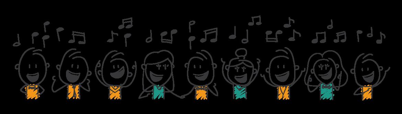 Zingende koorleden op het platform van Zingenvanblad