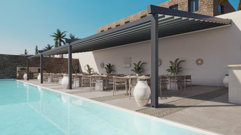 Een pergola terrasoverkapping verlengt het buitenseizoen-zsm zonwering