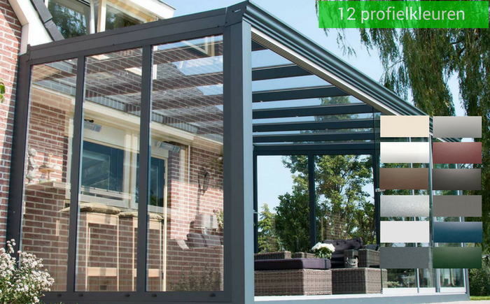 Verasol glazen wanden in 12 standaard kleuren-zsm zonwering