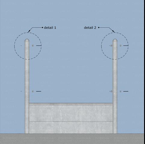 Detail 1 en detail 2 bij het plaatsen van l-beslag in tussenpaal