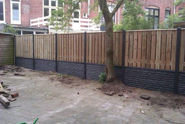 aanleg hout beton schutting drenthe