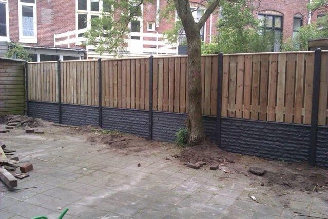 hout beton schutting plaatsen