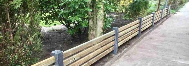 schutting voortuin hout-betonhek