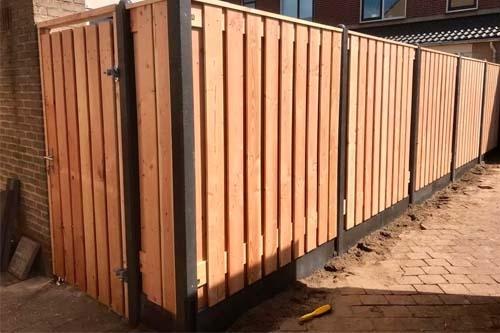 Standaard hout-betonschutting Douglas Hout