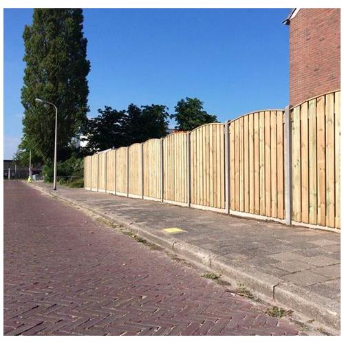Standaard hout-betonschutting bestellen of laten plaatsen